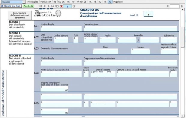 Quadro AC – Comunicazione dell'amministratore di condominio