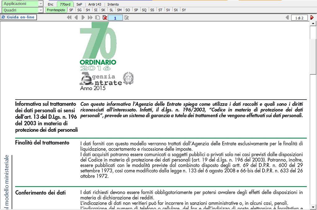 770 ordinario per fiscalisti for Dichiarazione 770