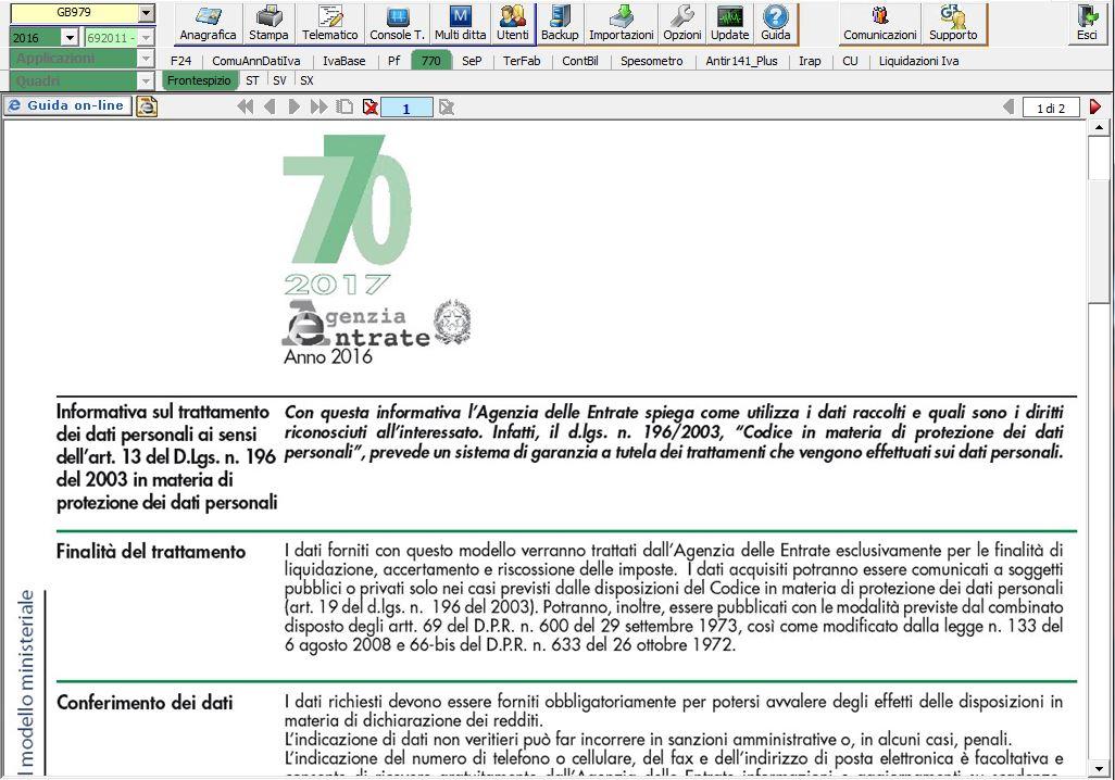 Modello 770 software dichiarazioni gb for Software di progettazione del modello di casa