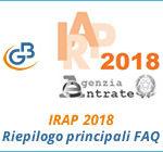 IRAP 2018: riepilogo principali FAQ