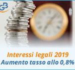 Interessi legali 2019: aumento del tasso allo 0,8%