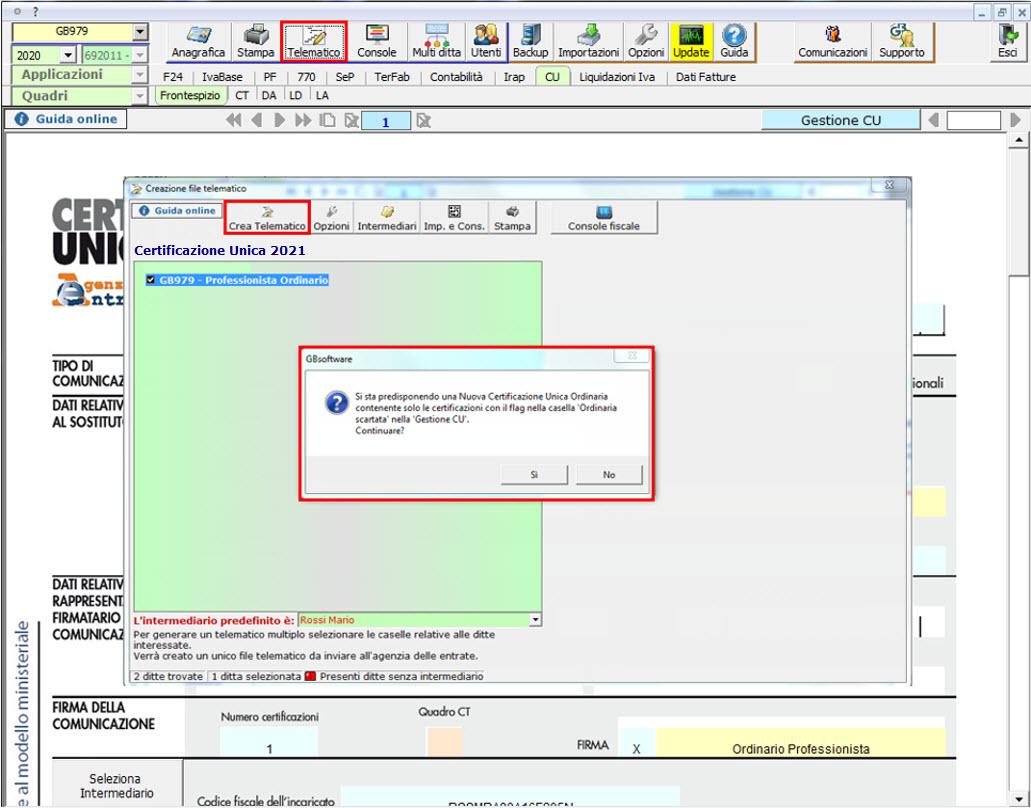 Certificazione Unica 2021 ordinaria: annullamento o sostituzione creazione file telematico