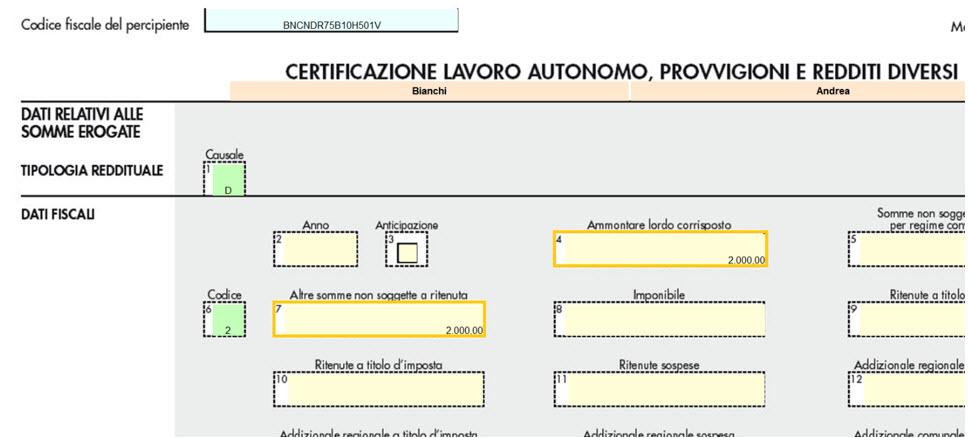 Certificazione Unica 2021: Posizionarsi poi nella certificazione del percipiente da sostituire e modificare i dati