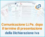 Comunicazione Li.Pe. dopo il termine di presentazione della Dichiarazione Iva