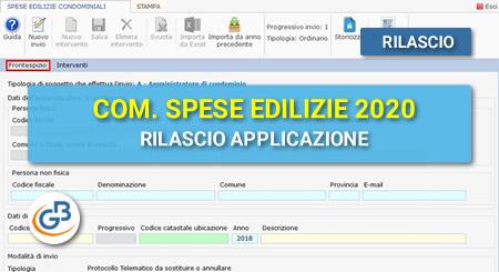 Comunicazione spese edilizie condominiali 2020: rilascio applicazione