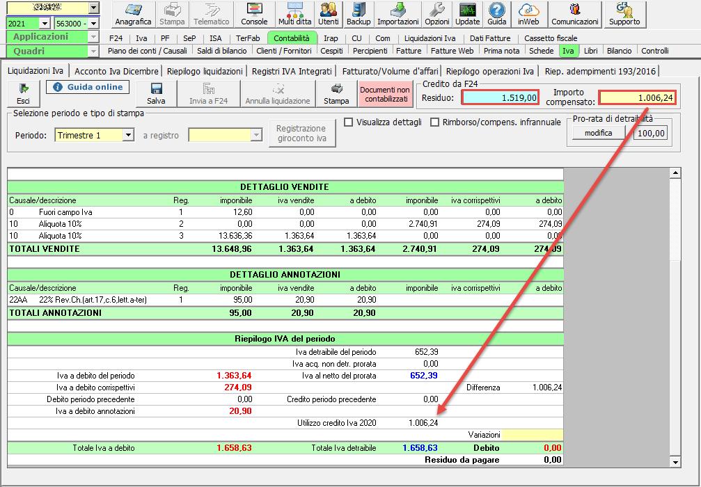 Li.Pe.: Credito Iva anno precedente e compilazione rigo VP9: credito 6099 utilizzato in compensazione verticale