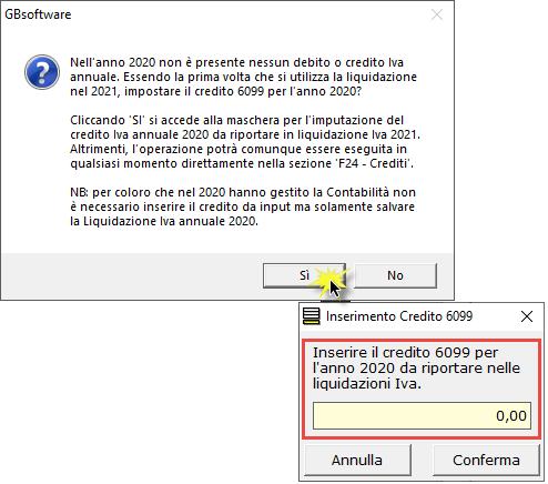 Li.Pe.: Credito Iva anno precedente e compilazione rigo VP9: inserimento del credito 6099