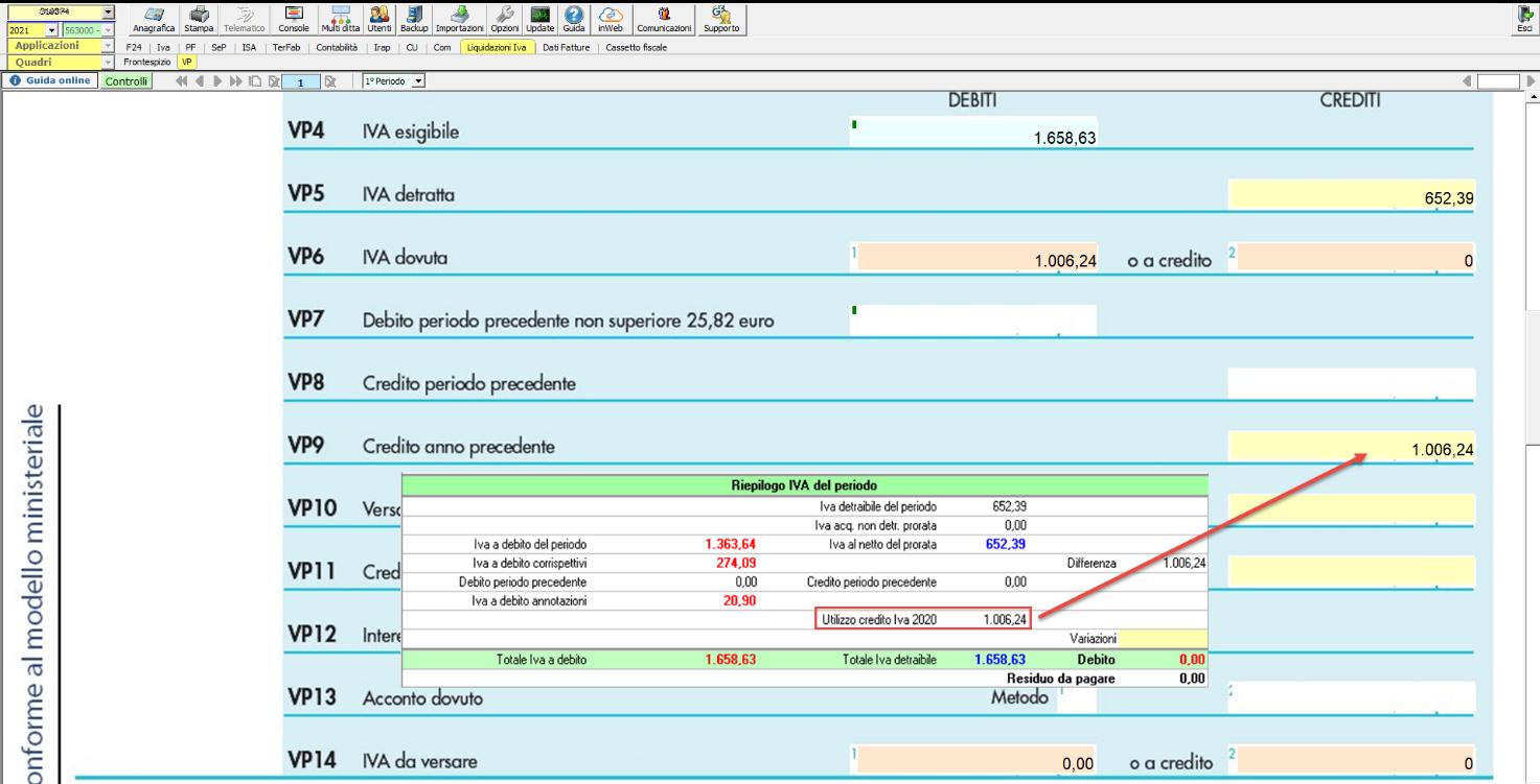 Li.Pe.: Credito Iva anno precedente e compilazione rigo VP9: Debito inferiore al credito Iva