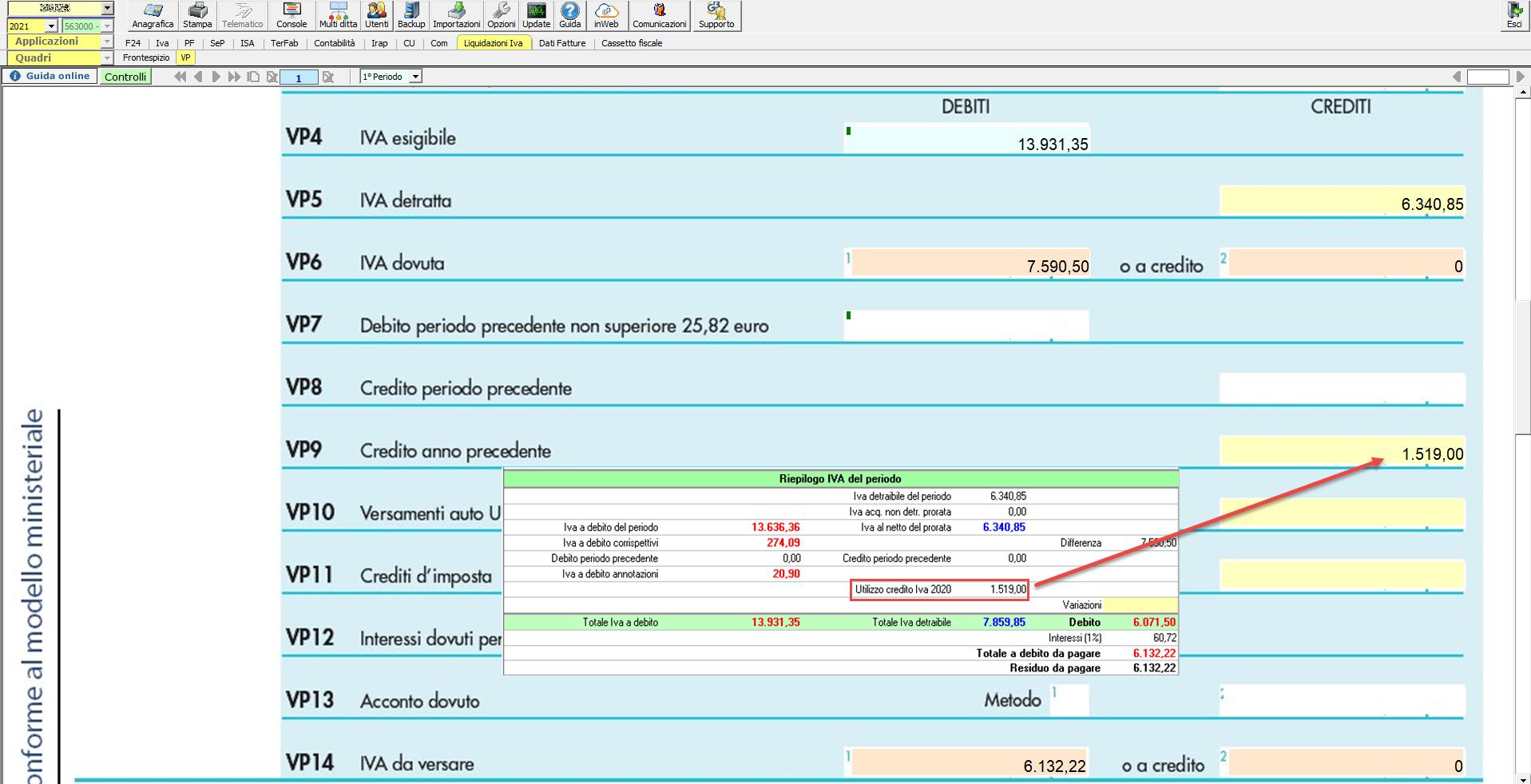 Li.Pe.: Credito Iva anno precedente e compilazione rigo VP9: Debito superiore al credito Iva