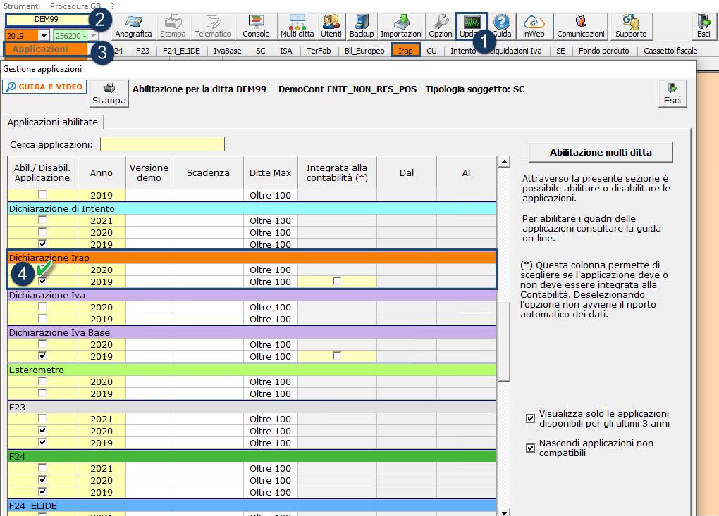 Dichiarazione IRAP 2021: applicazione: Abilitazione Singola