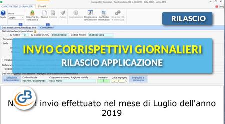 News - Invio Corrispettivi giornalieri 2019: rilascio applicazione