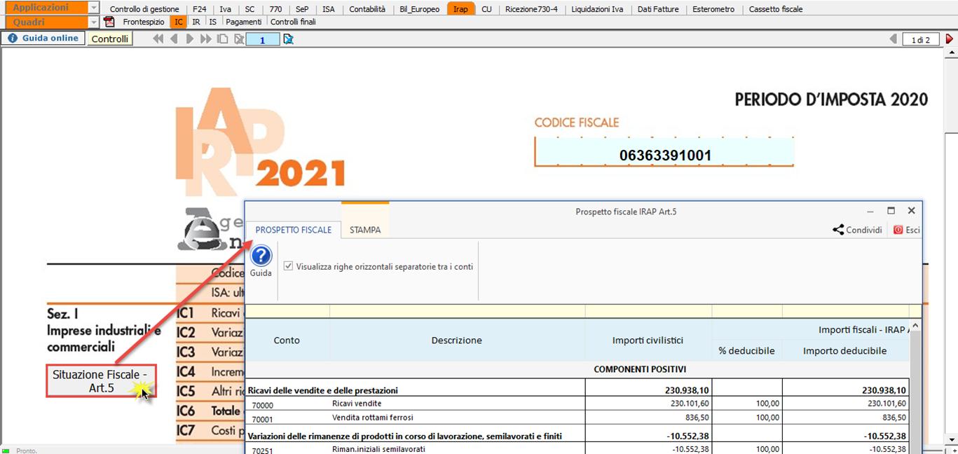 Irap 2021: nuovo prospetto fiscale: il prospetto è consultabile anche dall'applicazione Irap 2021 – anno imposta 2020