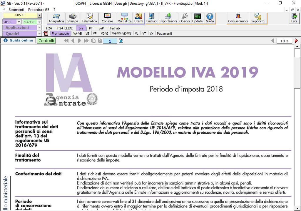 Software Dichiarazione IVA 2019 su modello ministeriale - Dichiarazioni Fiscali GB