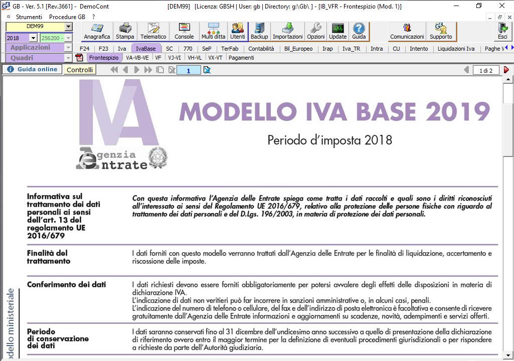 Software Dichiarazione IVA Base su modello ministeriale - Dichiarazioni Fiscali GB