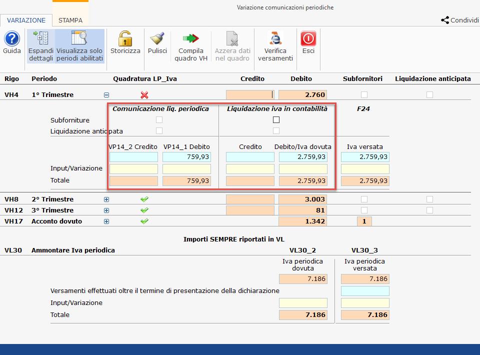 Iva e Iva Base 2021: quadro VH quando e perché: visualizzazione del dettaglio differenza periodi