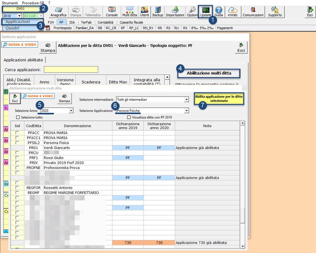 Disponibile applicazione: Redditi Persone Fisiche 2021: abilitazione multipla