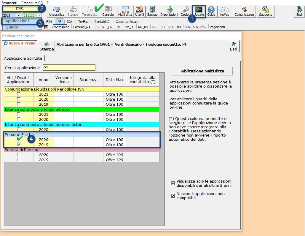 Disponibile applicazione: Redditi Persone Fisiche 2021: abilitazione singola