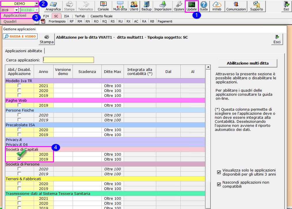 Redditi SC 2021: per abilitazione singola apporre il check su società di capitali