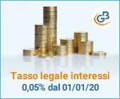 Tasso legale degli interessi: dal 1° gennaio 2020 scende allo 0,05%